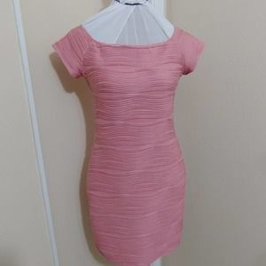 Hot Gal Cocktail Dress Pink Textured BodyCon L